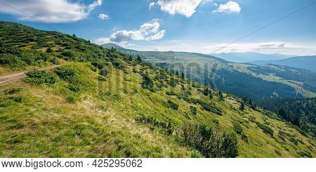Carpathian Mountain Landscape On A Bright Forenoon. Beatiful Scenery With Green Rolling Hills Beneat
