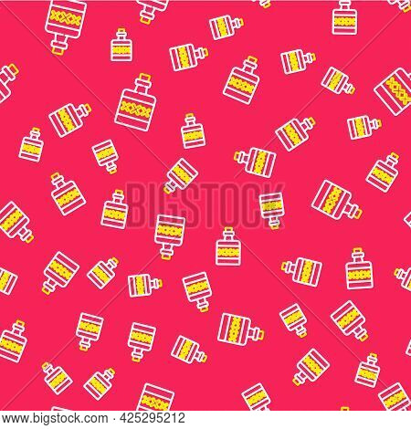 Line Alcohol Drink Rum Bottle Icon Isolated Seamless Pattern On Red Background. Vector