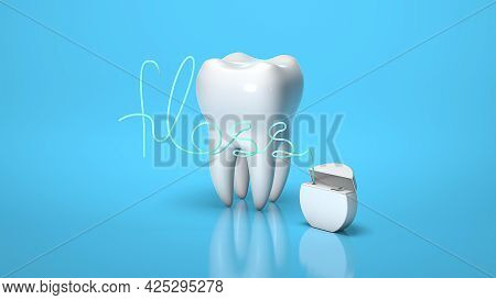 Dental Floss In The Form Of The Word Floss And Tooth On A Blue Background. 3d Render