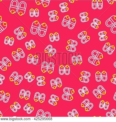 Line Slippers Icon Isolated Seamless Pattern On Red Background. Flip Flops Sign. Vector