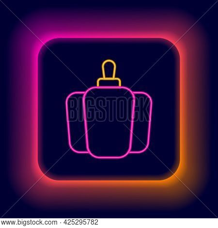 Glowing Neon Line Bell Pepper Or Sweet Capsicum Icon Isolated On Black Background. Colorful Outline