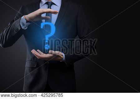 Businessman Man Hand Hold Interface Question Marks Sign Web. Ask Quiestion Online, Faq Concept, What