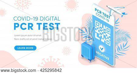 Electronic Pcr Coronavirus Test, Health Passport Qr Code On Smartphone Screen Vector Isometric Banne