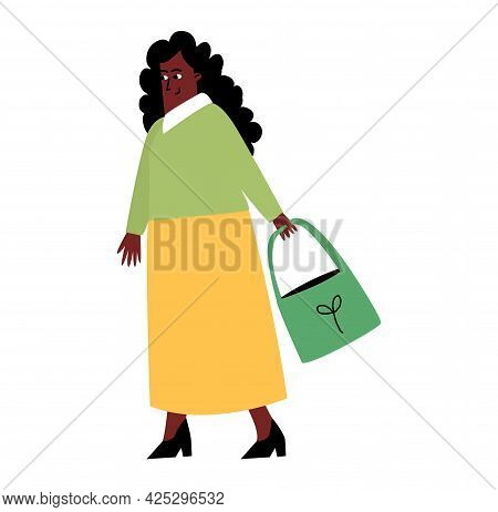 A Woman Shopper With A Package In Her Hands, A Woman With Purchases