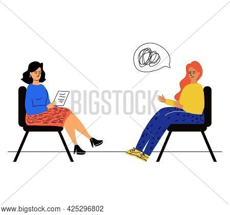 A Woman At An Appointment With A Psychologist, A Psychotherapist. The Concept Of Mental Health. Solv