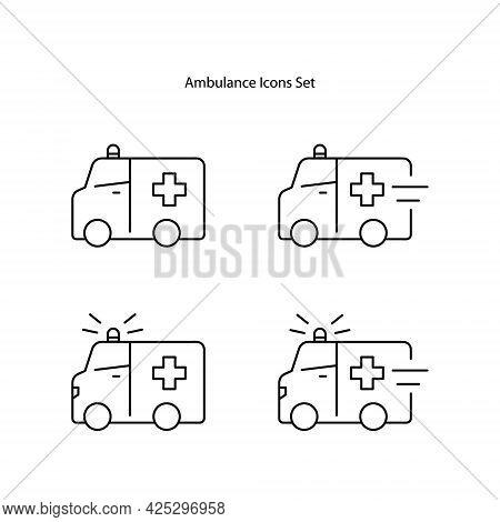 Ambulance Icons Set Isolated On White Background From Medicine Collection. Ambulance Icon Thin Line