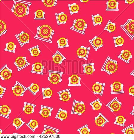 Line Gong Musical Percussion Instrument Circular Metal Disc Icon Isolated Seamless Pattern On Red Ba
