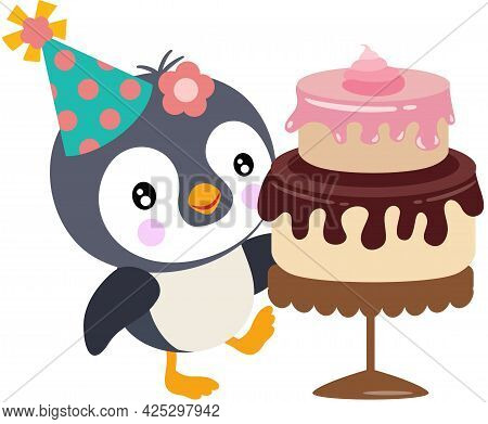 Scalable Vectorial Representing A Happy Birthday Penguin With Cake, Element For Design, Illustration