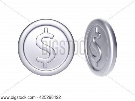 Silver Coin With Dollar Symbol. Rotation Metallic Money. Vector Illustration