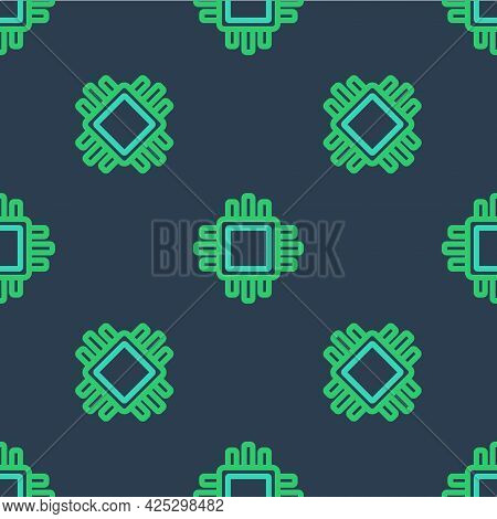 Line Computer Processor With Microcircuits Cpu Icon Isolated Seamless Pattern On Blue Background. Ch