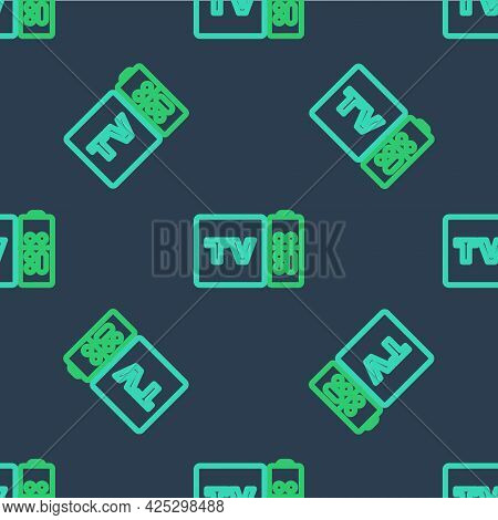 Line Multimedia And Tv Box Receiver And Player With Remote Controller Icon Isolated Seamless Pattern