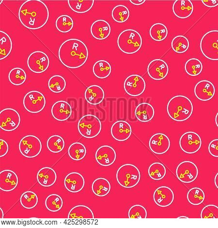 Line Radius Icon Isolated Seamless Pattern On Red Background. Vector