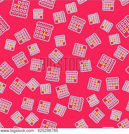 Line Calendar With Haircut Day Icon Isolated Seamless Pattern On Red Background. Haircut Appointment