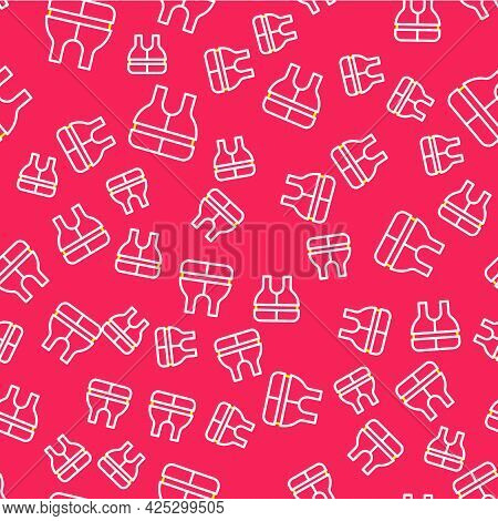 Line Life Jacket Icon Isolated Seamless Pattern On Red Background. Life Vest Icon. Extreme Sport. Sp