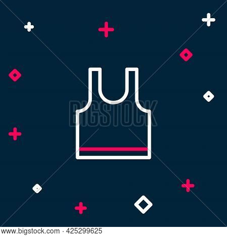 Line Sleeveless T-shirt Icon Isolated On Blue Background. Colorful Outline Concept. Vector