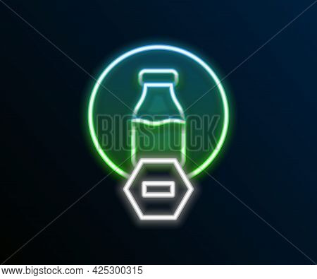 Glowing Neon Line Lactose Free Icon Isolated On Black Background. Colorful Outline Concept. Vector