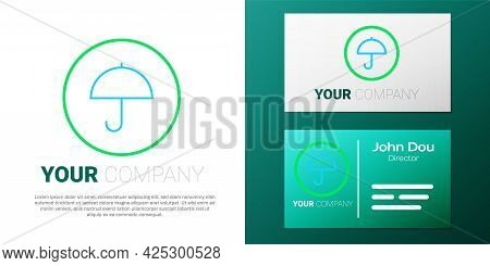 Line Delivery Package With Umbrella Symbol Icon Isolated On White Background. Parcel Cardboard Box W