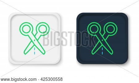 Line Scissors With Cut Line Icon Isolated On White Background. Tailor Symbol. Cutting Tool Sign. Col