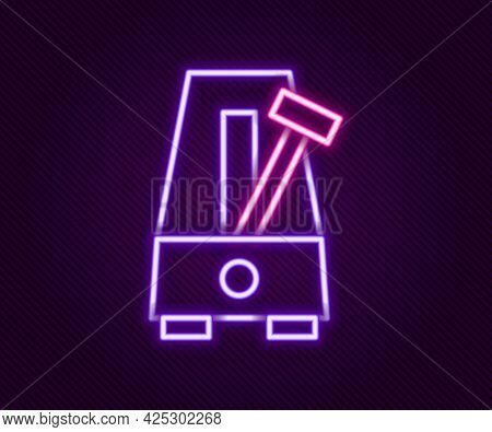 Glowing Neon Line Classic Metronome With Pendulum In Motion Icon Isolated On Black Background. Equip