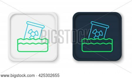 Line Radioactive Waste In Barrel Icon Isolated On White Background. Toxic Waste Contamination On Wat