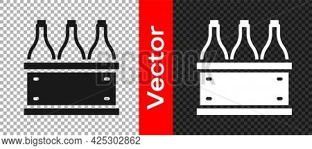 Black Bottles Of Wine In A Wooden Box Icon Isolated On Transparent Background. Wine Bottles In A Woo