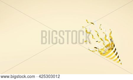 Golden Party Popper With Flying Confetti 3d Render Illustration With Copy Space.