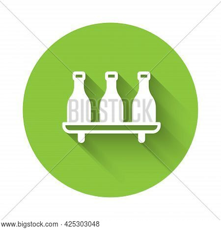 White Bottle Of Wine Icon Isolated With Long Shadow Background. Wine Varieties. Green Circle Button.