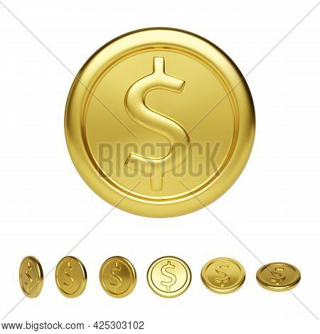 Golden Coin Front View And Different Position. Realistic Render Of Glossy Metallic Coin. Finance And