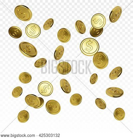 Realistic Gold Coin On Transparent Background. Jackpot Or Casino Poker Win Element. Cash Treasure Co