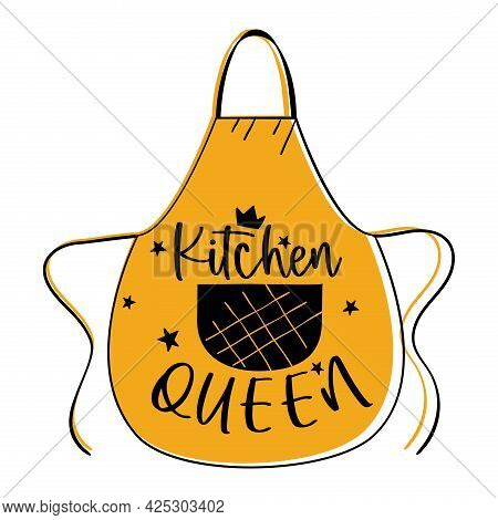 Apron With Quote Kitchen Queen. Vector Illustration.
