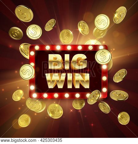 Jackpot Casino Winner. Big Win Banner. Retro Signboard With Falling Gold Coins. Vector Illustration