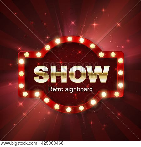 Jackpot Casino Winner. Show Banner Retro Signboard On Red Background With Light. Vector Illustration
