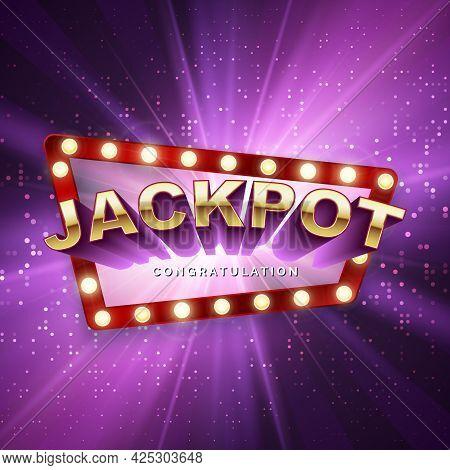 Jackpot Casino Winner. Big Win Banner. Retro Signboard On Purple Background With Light Rays. Vector