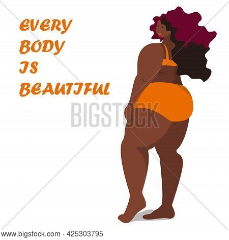 African American Plus Size Woman In Swimsuit. Body Positive Black Woman.