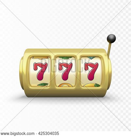 Golden Slot Machine Realistic Render. 777 Big Win Or Jackpot Casino Win. Vector Illustration