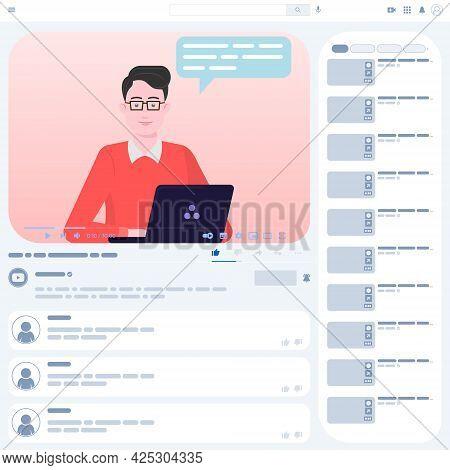 Video Tutorial Vector Design, Online Video Playback, Communicator In Online Course, Video Website In