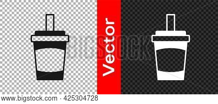 Black Paper Glass With Drinking Straw And Water Icon Isolated On Transparent Background. Soda Drink