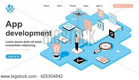 App Development Isometric Concept. Developer Creates Layout With Buttons For Mobile Application, Usa