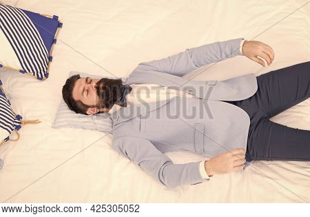 After Groom Party. Groom Sleep In Bed. Bearded Man In Groom Wear. Bachelor Or Fiance. Husband Or New