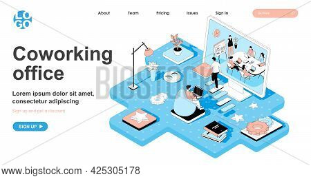 Coworking Office Isometric Concept. Business Meeting Of Company Employees, Freelancer Works In Open