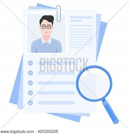 Vector Design Of Curriculum Vitae With Photo Of Boy, Resume For Job Search With Magnifying Glass