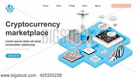 Cryptocurrency Marketplace Isometric Concept. Woman Sells Or Buys Bitcoins, Makes Digital Money, Cry