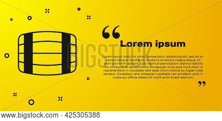 Black Wooden Barrel Icon Isolated On Yellow Background. Alcohol Barrel, Drink Container, Wooden Keg