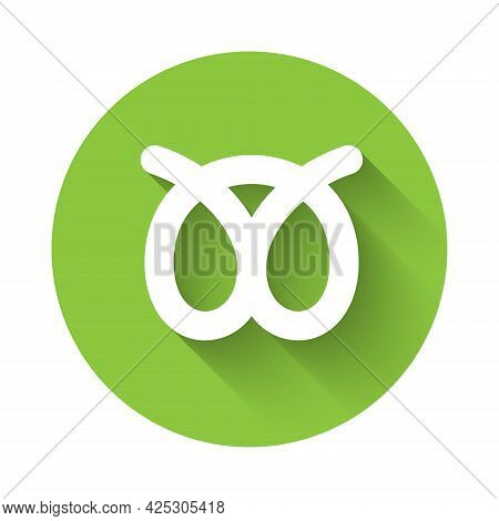 White Pretzel Icon Isolated With Long Shadow Background. German Comfort Food Pastry. Oktoberfest Fes