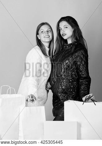 Choosing The Best. Black Friday. Lots Of Presents. Winter Holidays. Family Purchase. Women In Spring