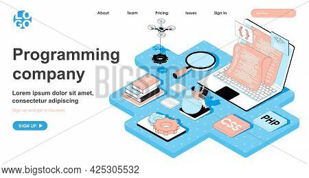 Programming Company Isometric Concept. Programmer Writes Code, Develops And Configures Programs, Cre