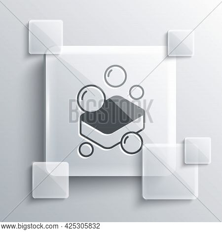 Grey Bar Of Soap Icon Isolated On Grey Background. Soap Bar With Bubbles. Square Glass Panels. Vecto