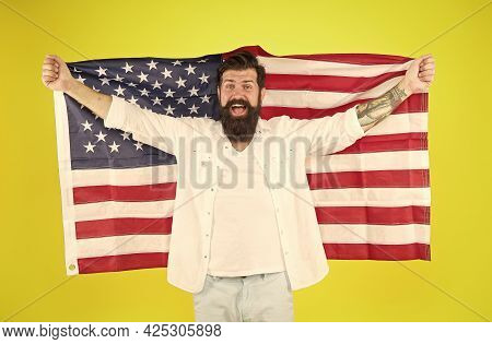 National Minorities. Ethnic Background. Cultural Identity. American Man Celebrate Independence Day.