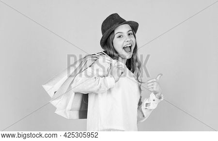 Spring Shopping. Individual Style. Girl Wear Hat Blue Background. Accessories Shop. Fancy Girl Shopp