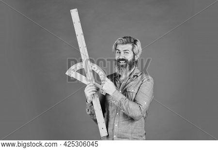 Bearded Man Use Ruler. Education Concept. Study Hard. Measurement Tool. Teacher Of Stem. Measuring W